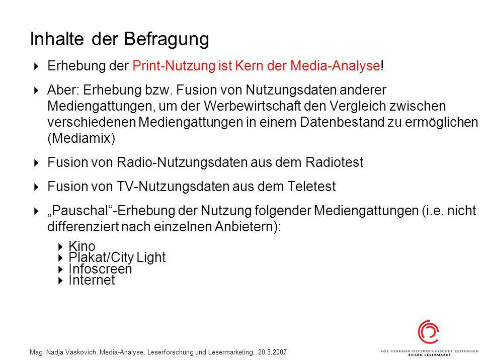 Inhalte der Befragung Erhebung der Print-Nutzung ist Kern der Media-Analyse!