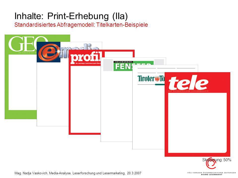 Inhalte: Print-Erhebung (IIa) Standardisiertes Abfragemodell: Titelkarten-Beispiele