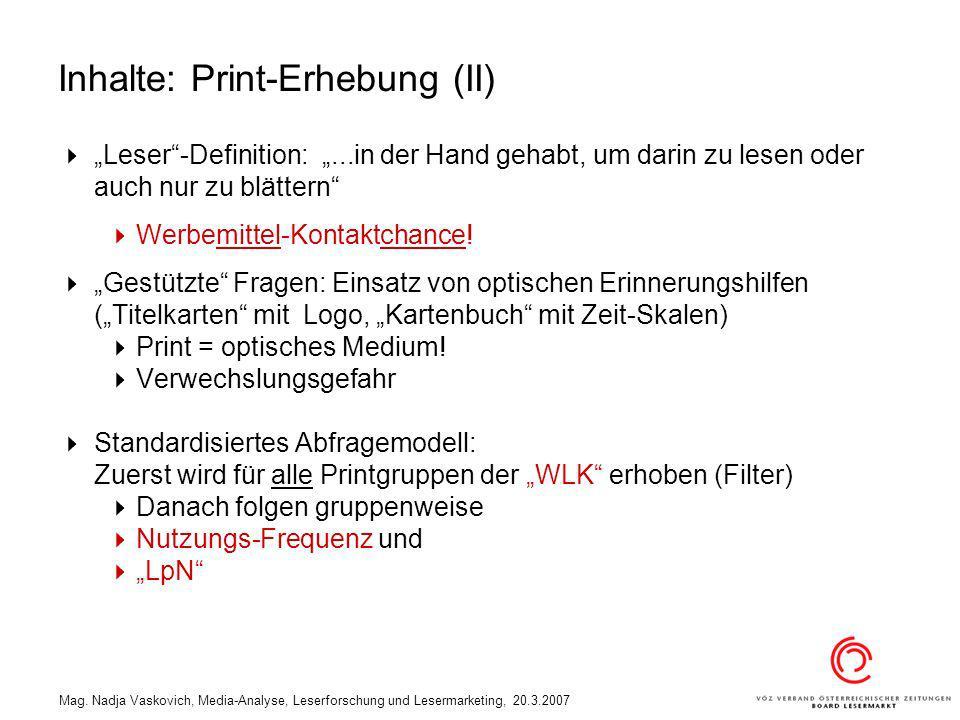 Inhalte: Print-Erhebung (II)