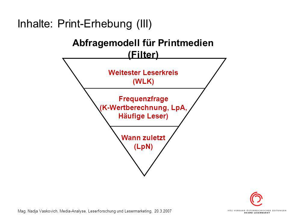 Inhalte: Print-Erhebung (III)