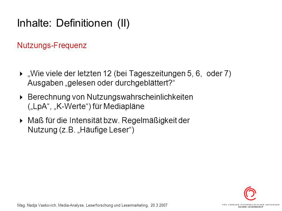 Inhalte: Definitionen (II)