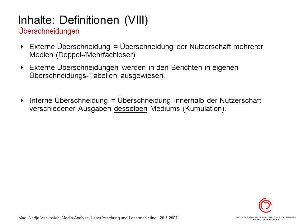 Inhalte: Definitionen (VIII) Überschneidungen