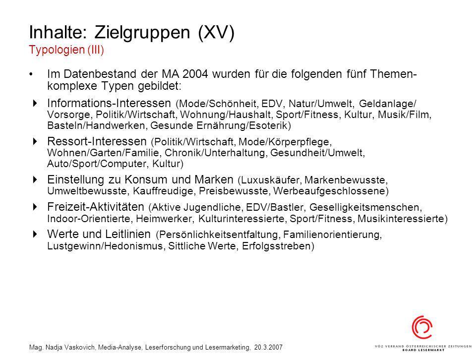 Inhalte: Zielgruppen (XV) Typologien (III)