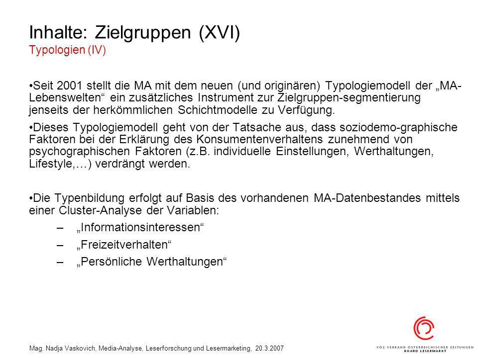 Inhalte: Zielgruppen (XVI) Typologien (IV)