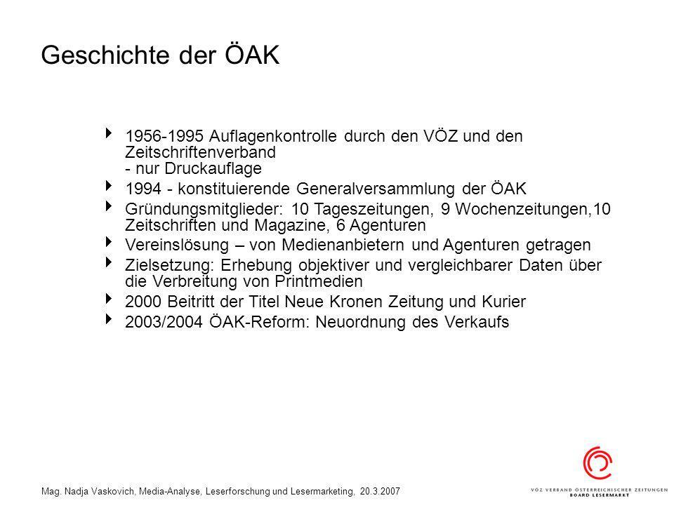 Geschichte der ÖAK 1956-1995 Auflagenkontrolle durch den VÖZ und den Zeitschriftenverband - nur Druckauflage.