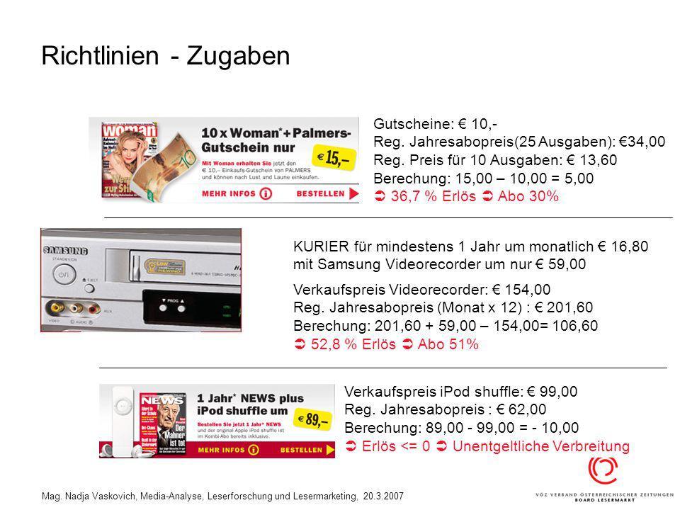 Richtlinien - Zugaben Gutscheine: € 10,-