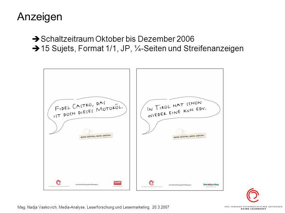 Anzeigen Schaltzeitraum Oktober bis Dezember 2006