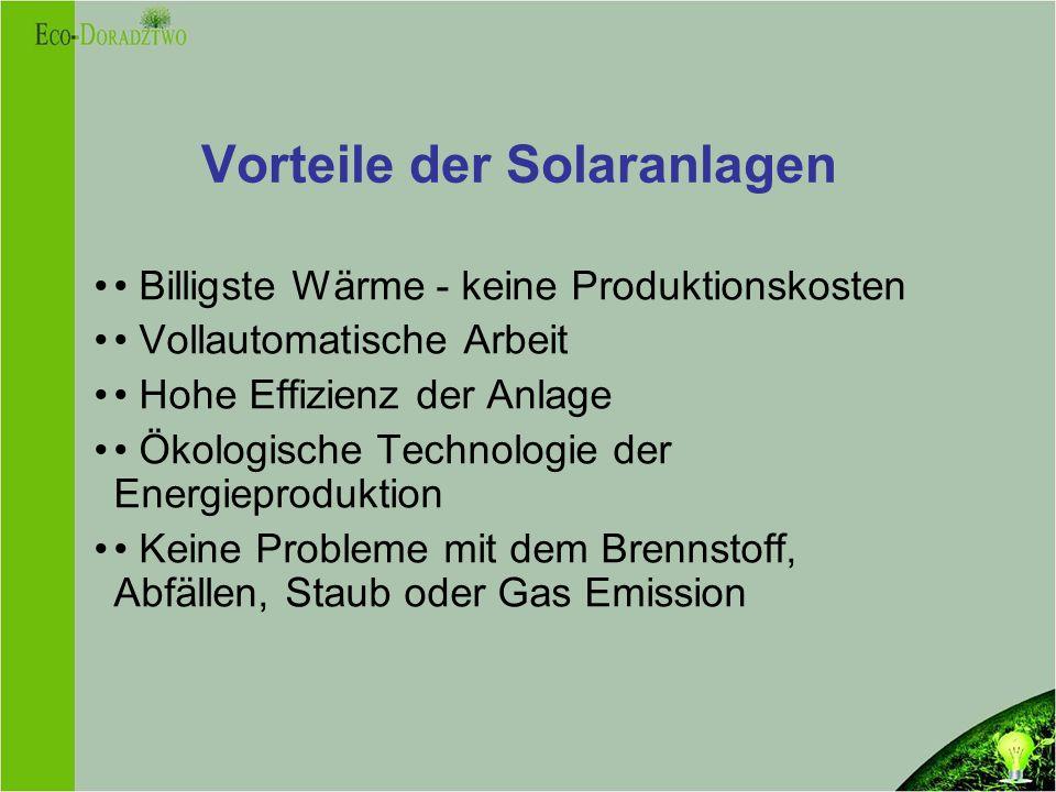 Vorteile der Solaranlagen