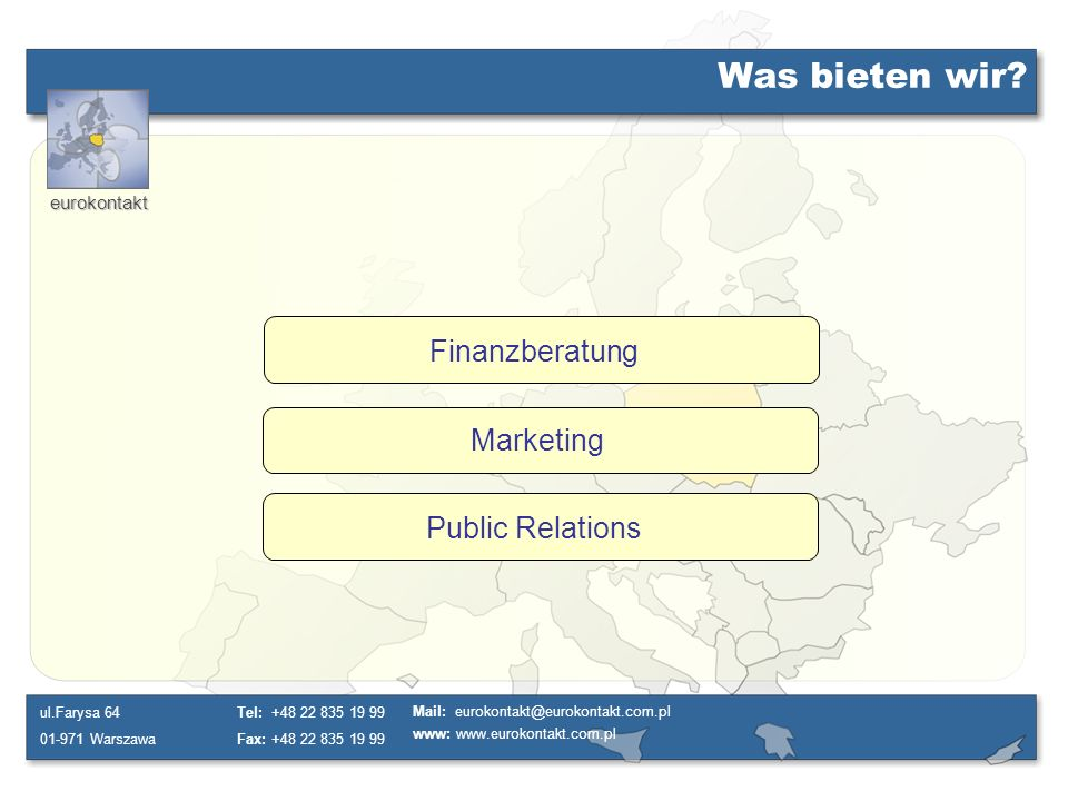 Was bieten wir Finanzberatung Marketing Public Relations