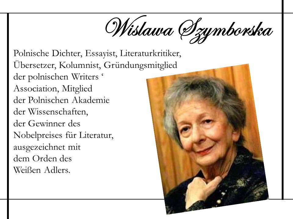 Wislawa Szymborska Polnische Dichter, Essayist, Literaturkritiker,