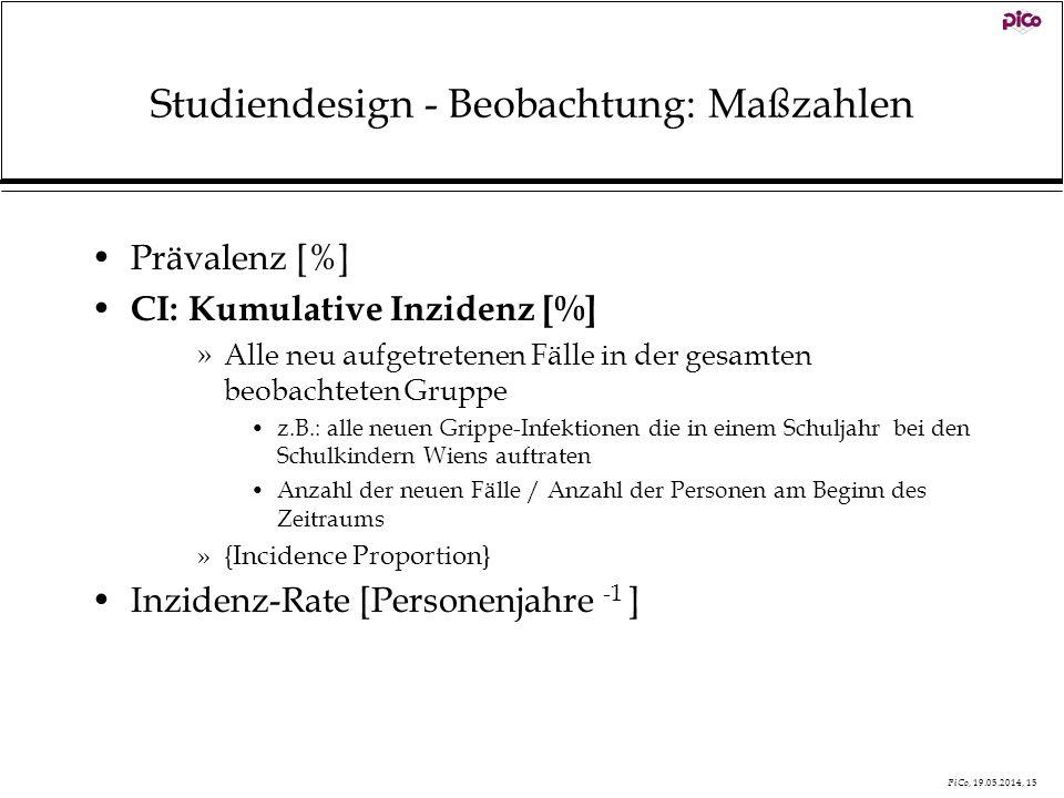 Studiendesign - Beobachtung: Maßzahlen