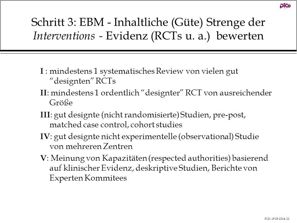 Schritt 3: EBM - Inhaltliche (Güte) Strenge der Interventions - Evidenz (RCTs u. a.) bewerten