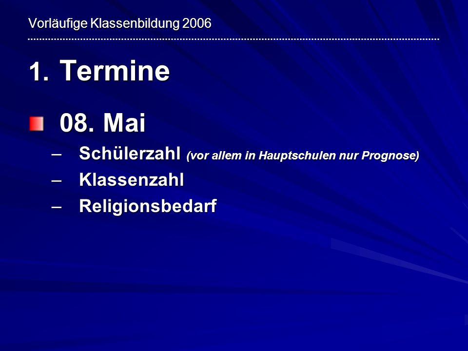 Vorläufige Klassenbildung 2006