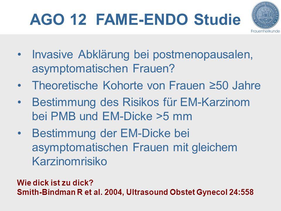AGO 12 FAME-ENDO Studie Invasive Abklärung bei postmenopausalen, asymptomatischen Frauen Theoretische Kohorte von Frauen ≥50 Jahre.