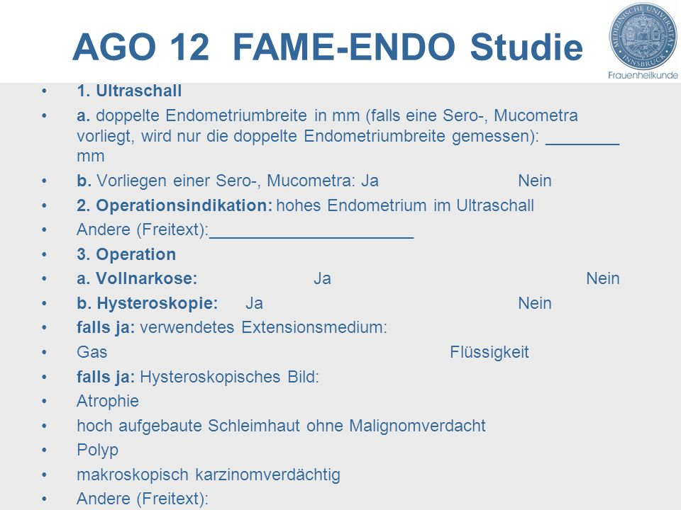 AGO 12 FAME-ENDO Studie 1. Ultraschall