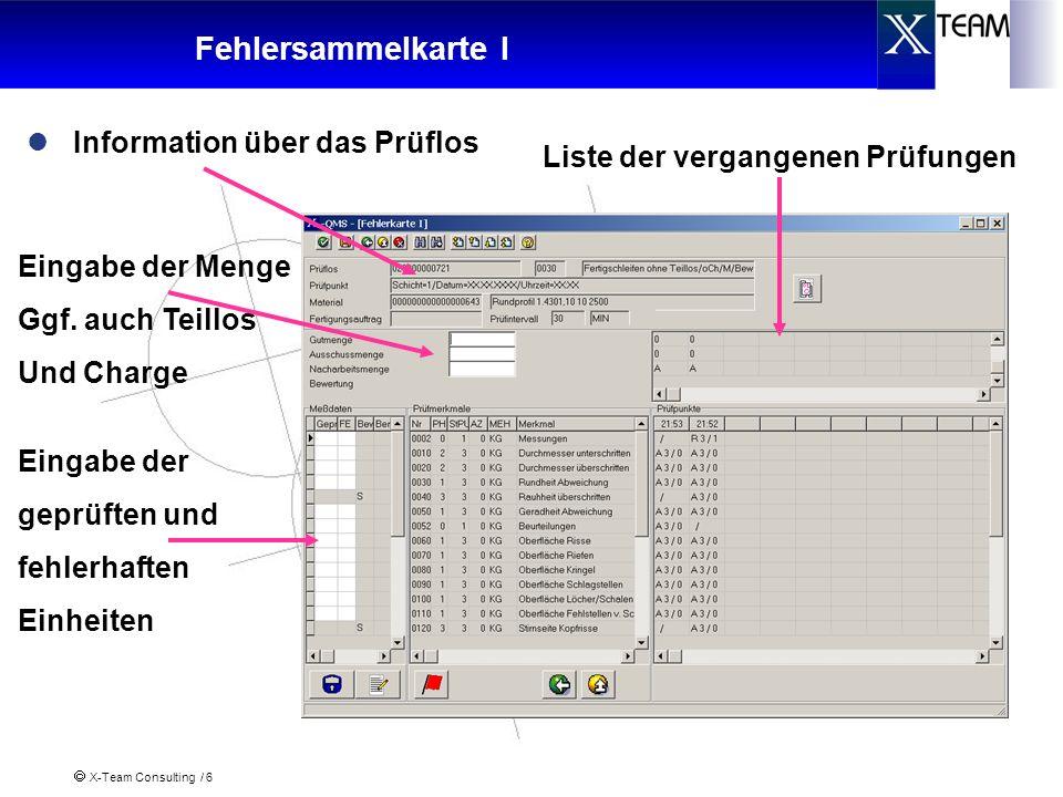 Fehlersammelkarte I Information über das Prüflos