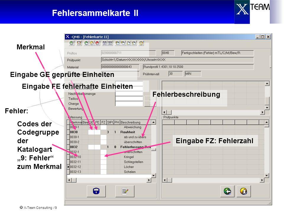 Fehlersammelkarte II Merkmal Eingabe GE geprüfte Einheiten