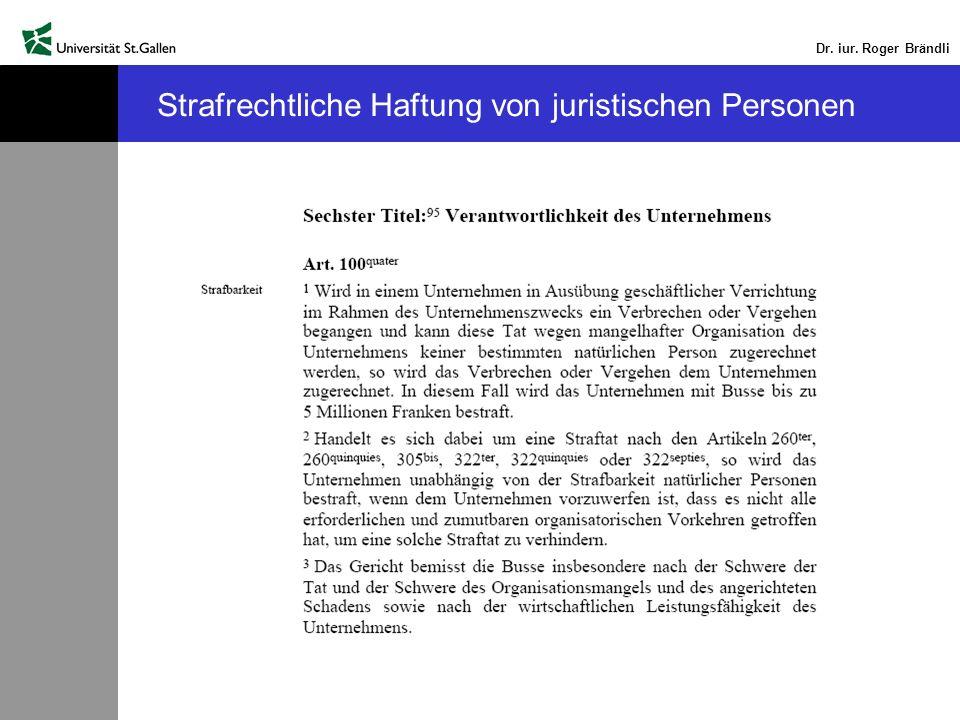 Strafrechtliche Haftung von juristischen Personen