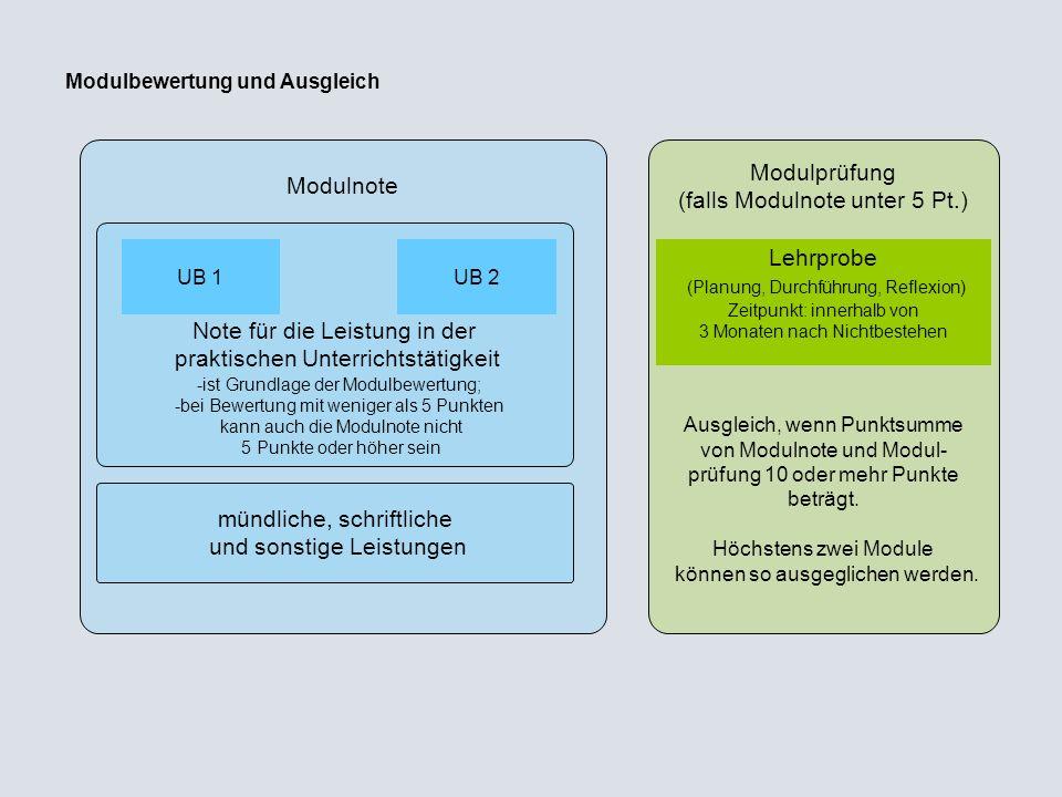 Modulprüfung (falls Modulnote unter 5 Pt.)