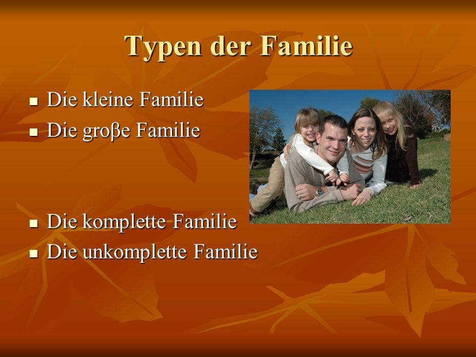 Typen der Familie Die kleine Familie Die groβe Familie