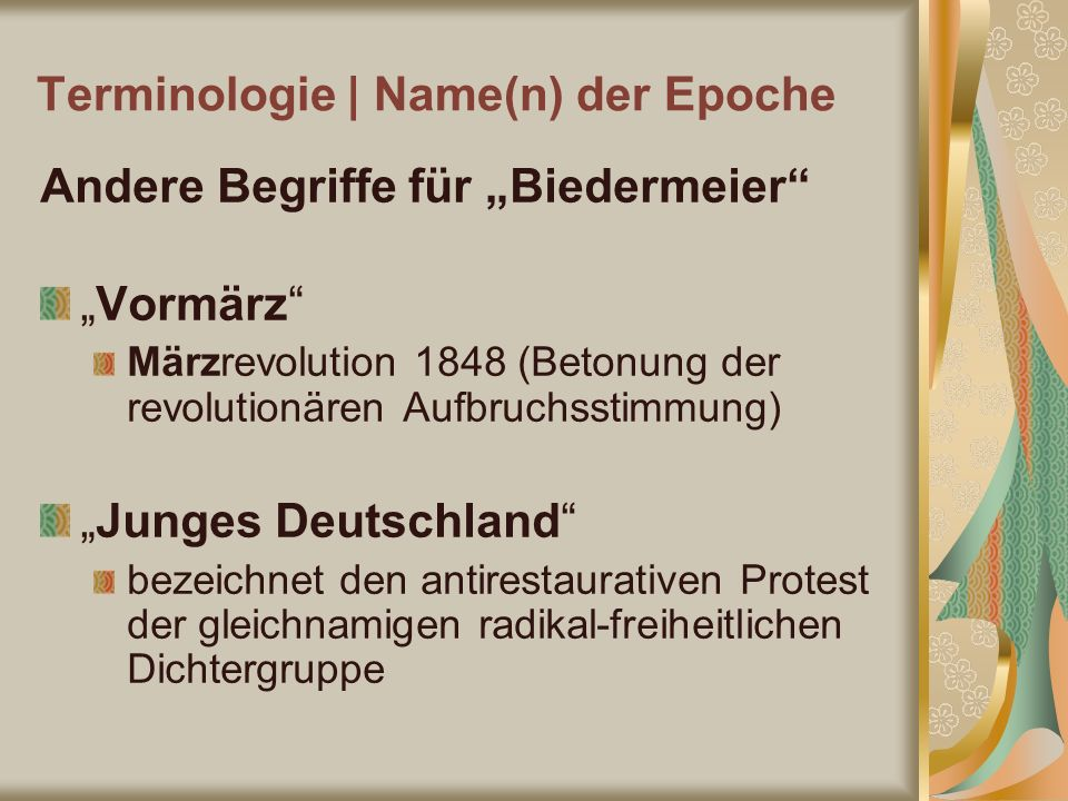 Terminologie | Name(n) der Epoche