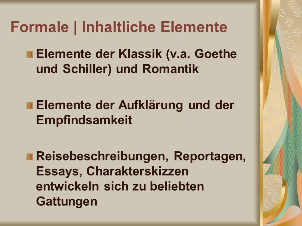 Formale | Inhaltliche Elemente