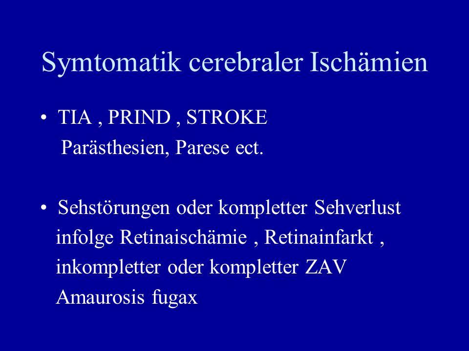 Symtomatik cerebraler Ischämien