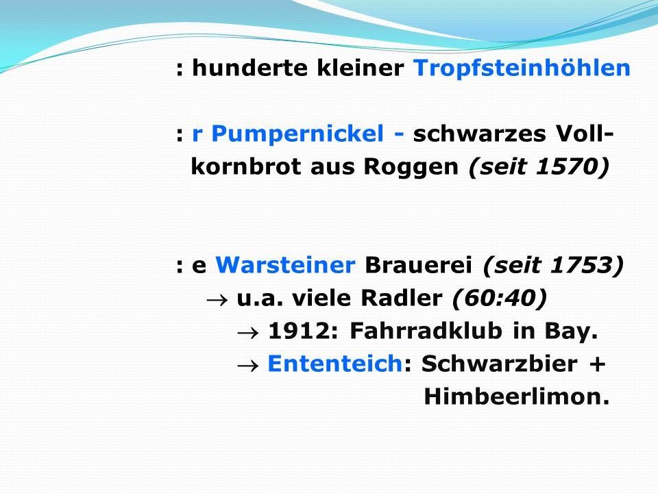 : hunderte kleiner Tropfsteinhöhlen : r Pumpernickel - schwarzes Voll- kornbrot aus Roggen (seit 1570) : e Warsteiner Brauerei (seit 1753)  u.a.