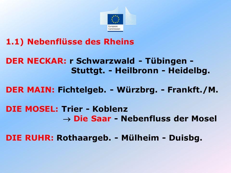 1.1) Nebenflüsse des Rheins