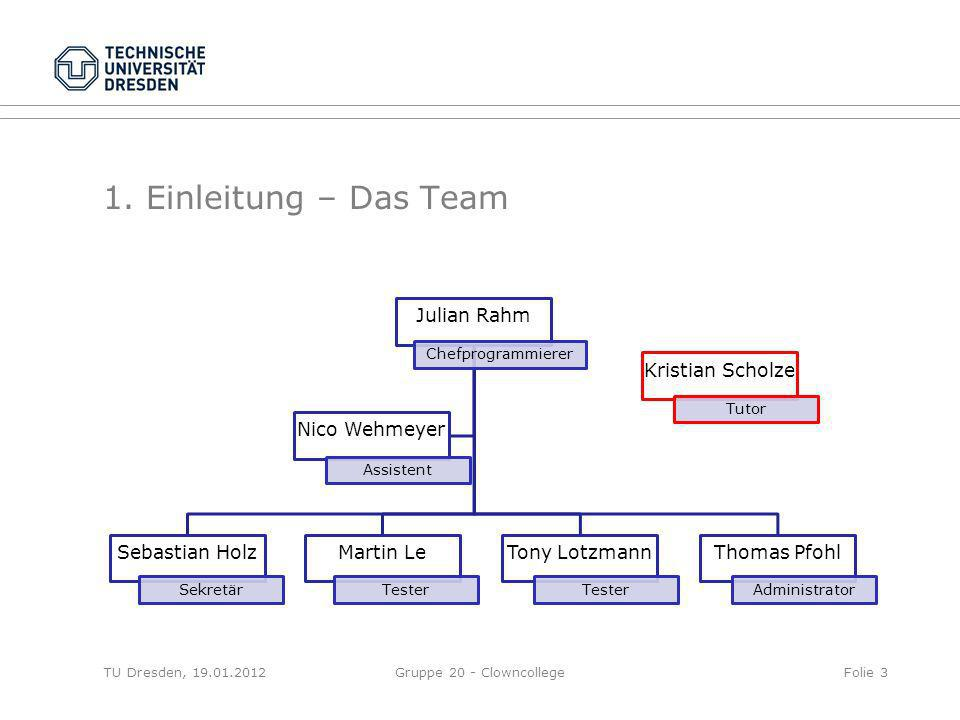 1. Einleitung – Das Team Julian Rahm Sebastian Holz Martin Le