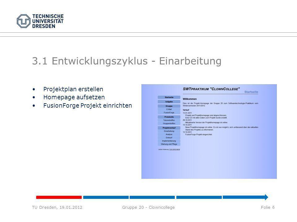 3.1 Entwicklungszyklus - Einarbeitung