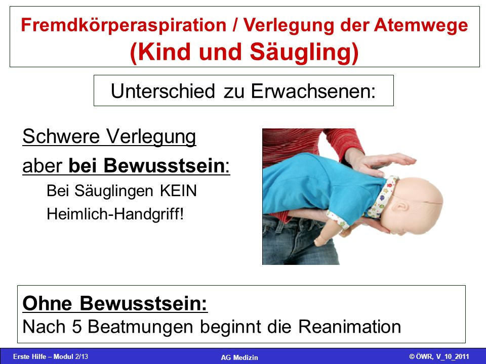 Fremdkörperaspiration / Verlegung der Atemwege (Kind und Säugling)