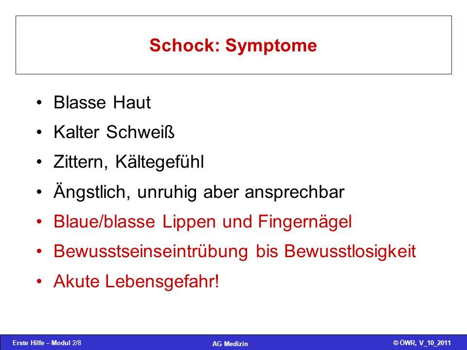 Schock: Symptome Blasse Haut. Kalter Schweiß. Zittern, Kältegefühl. Ängstlich, unruhig aber ansprechbar.