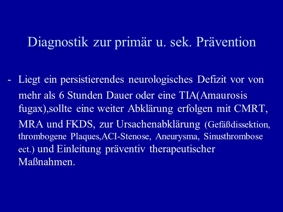 Diagnostik zur primär u. sek. Prävention
