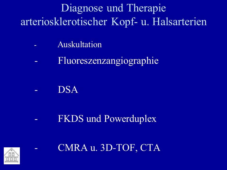 Diagnose und Therapie arteriosklerotischer Kopf- u. Halsarterien