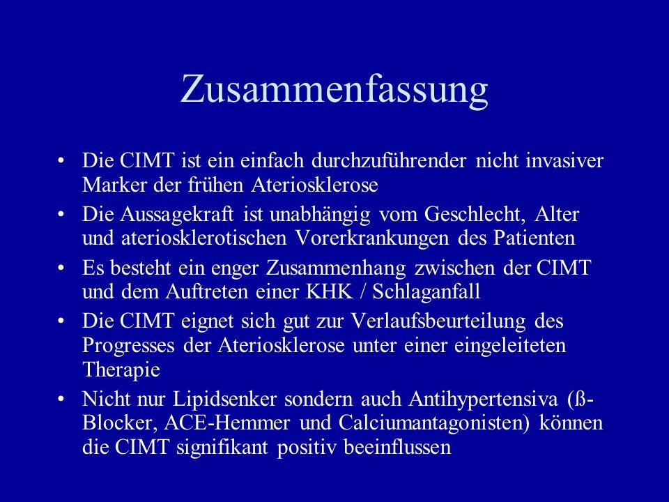 Zusammenfassung Die CIMT ist ein einfach durchzuführender nicht invasiver Marker der frühen Ateriosklerose.