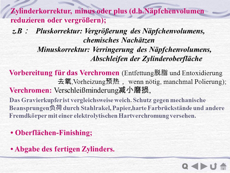 Zylinderkorrektur, minus oder plus (d.h.Näpfchenvolumen