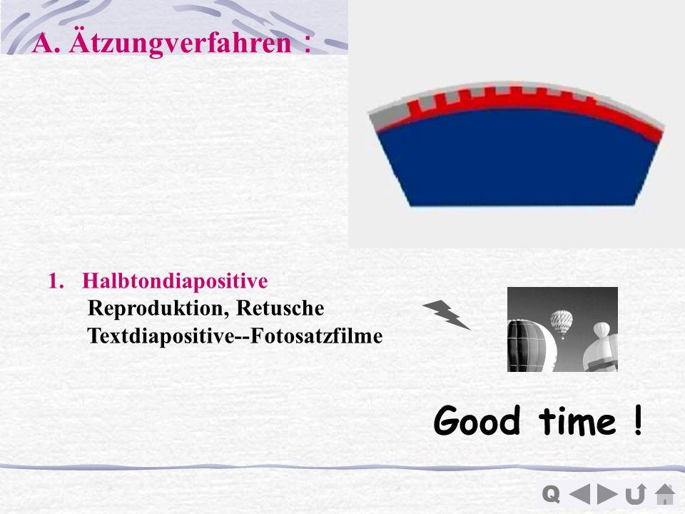 Good time ! A. Ätzungverfahren: Halbtondiapositive