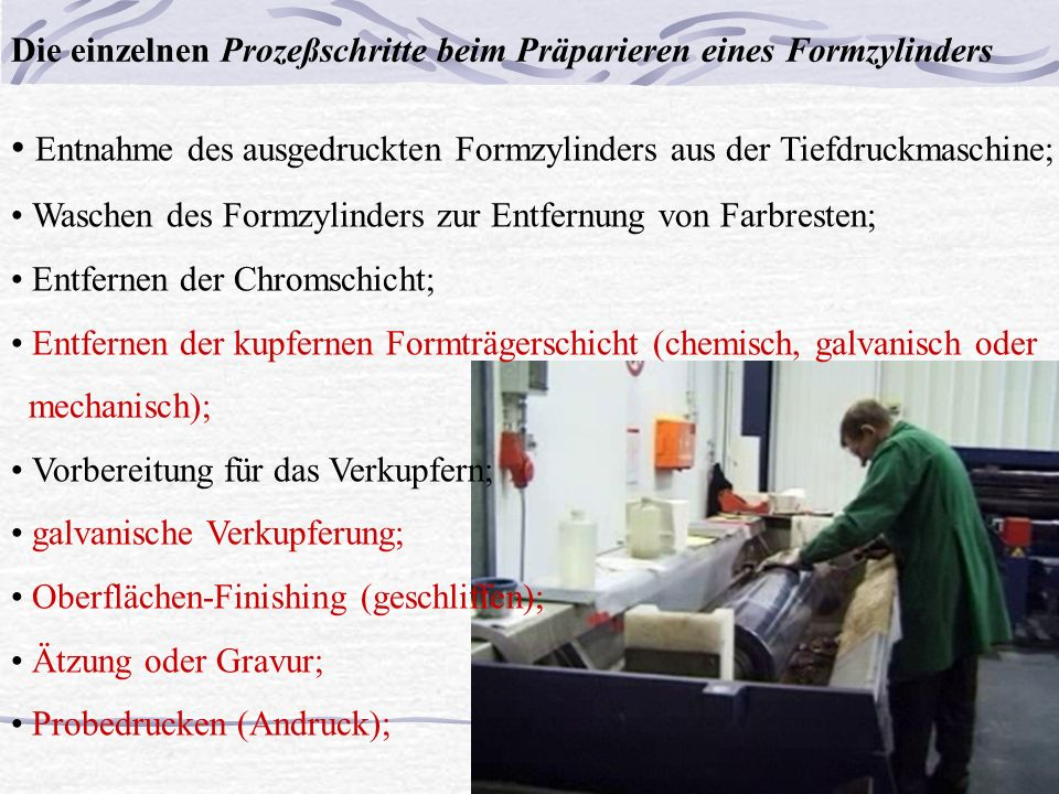 • Entnahme des ausgedruckten Formzylinders aus der Tiefdruckmaschine;