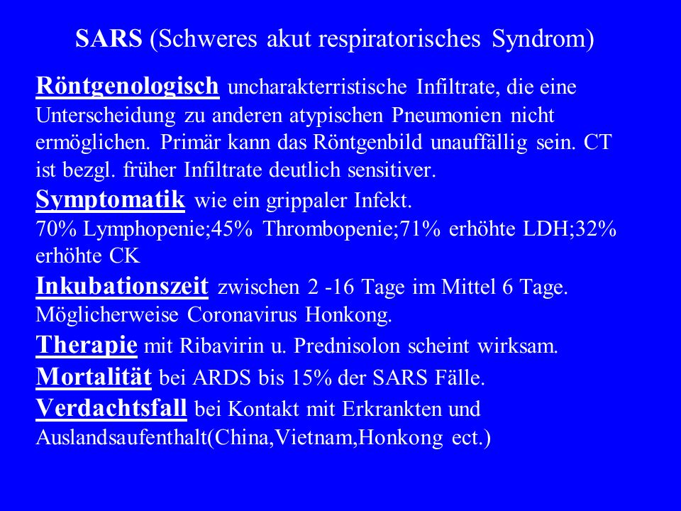 SARS (Schweres akut respiratorisches Syndrom)