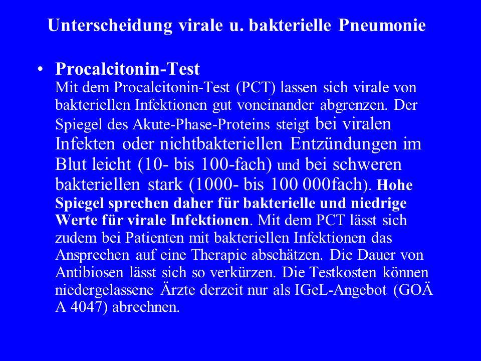 Unterscheidung virale u. bakterielle Pneumonie