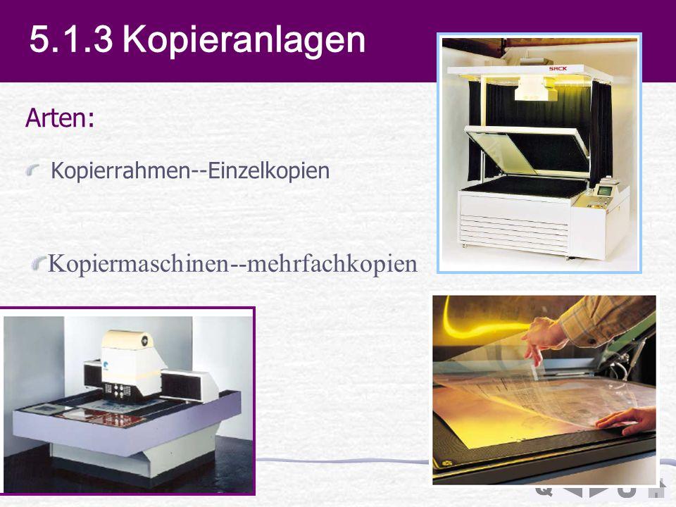 5.1.3 Kopieranlagen Arten: Kopiermaschinen--mehrfachkopien