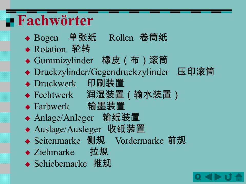Fachwörter Bogen 单张纸 Rollen 卷筒纸 Rotation 轮转 Gummizylinder 橡皮(布)滚筒