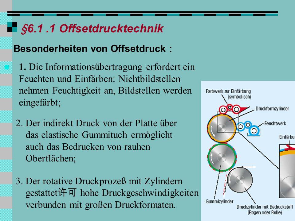§6.1 .1 Offsetdrucktechnik Besonderheiten von Offsetdruck: