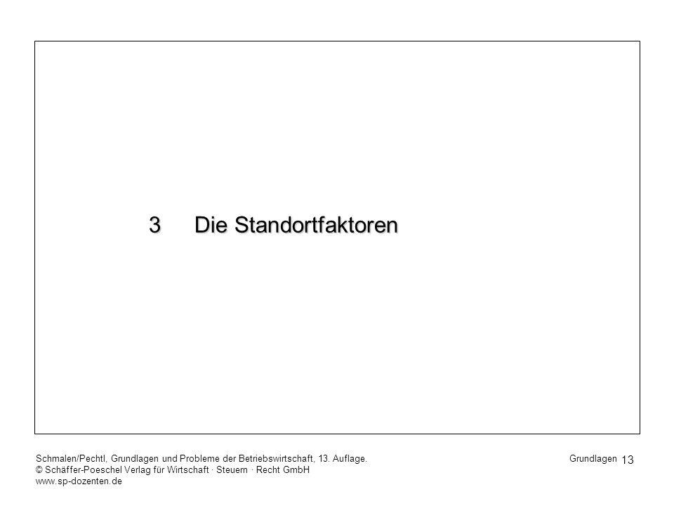 3 Die Standortfaktoren Schmalen/Pechtl, Grundlagen und Probleme der Betriebswirtschaft, 13. Auflage.