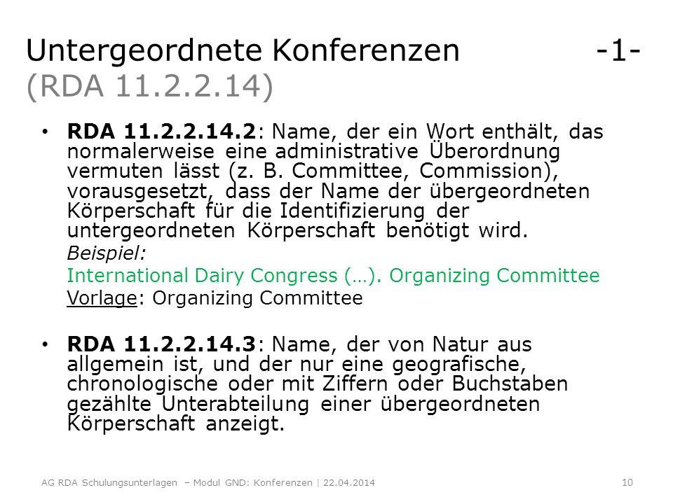 Untergeordnete Konferenzen -1- (RDA 11.2.2.14)