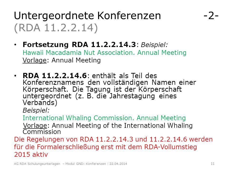Untergeordnete Konferenzen -2- (RDA 11.2.2.14)