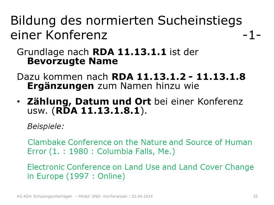 Bildung des normierten Sucheinstiegs einer Konferenz -1-