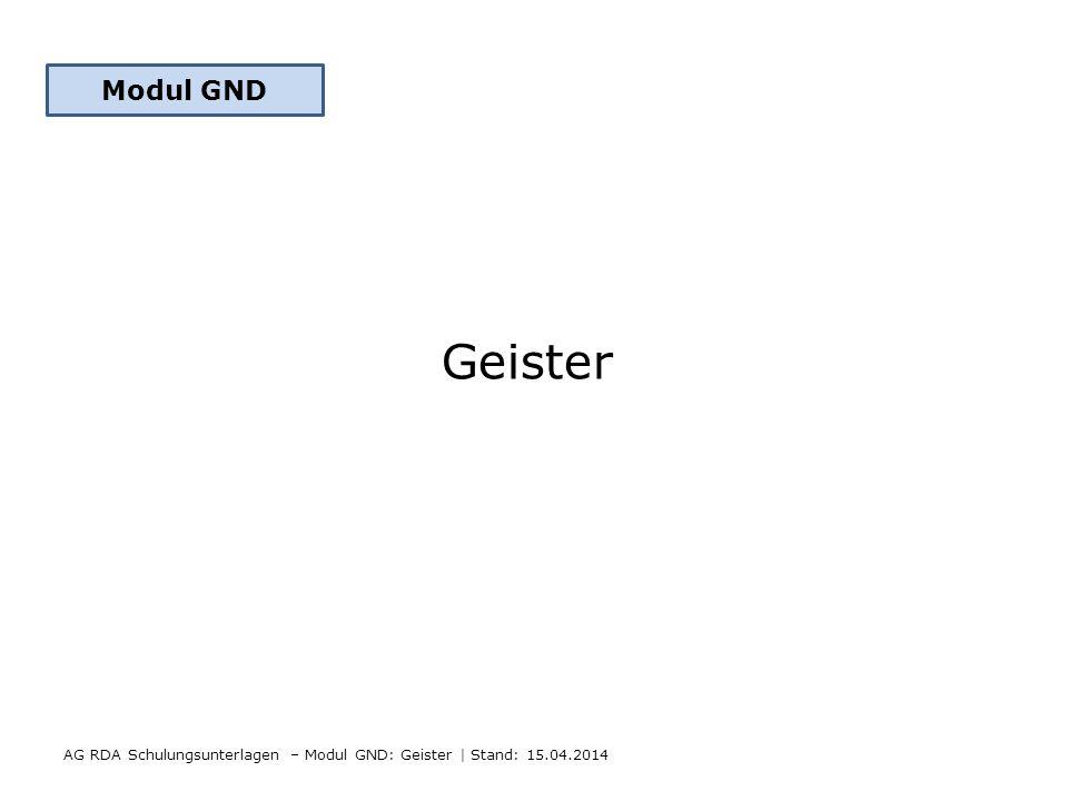 Modul GND Geister AG RDA Schulungsunterlagen – Modul GND: Geister | Stand: 15.04.2014