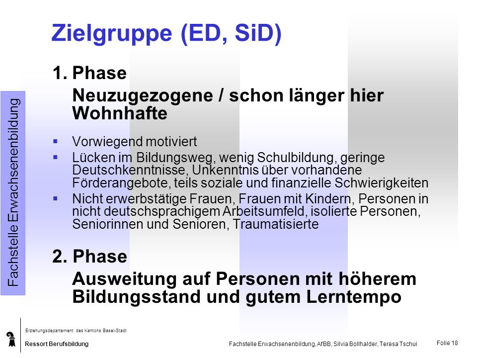 Zielgruppe (ED, SiD) 1. Phase